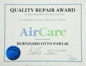 AirCare Award certificate