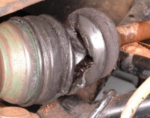 Damaged CV Joint Boot