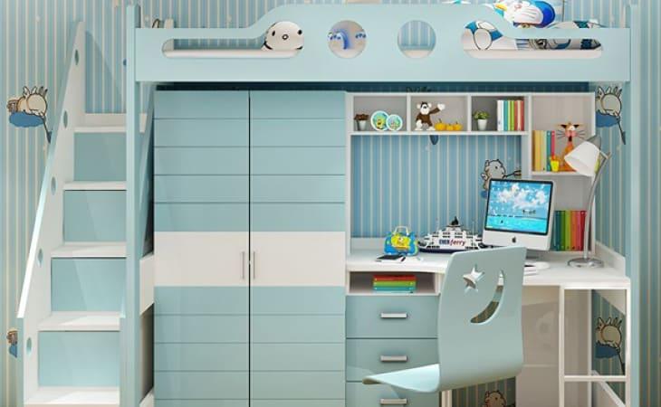 Giường tầng kết hợp tủ quần áo và bàn học cho trẻ em