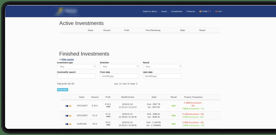 Original Design of Platform - Active Investments