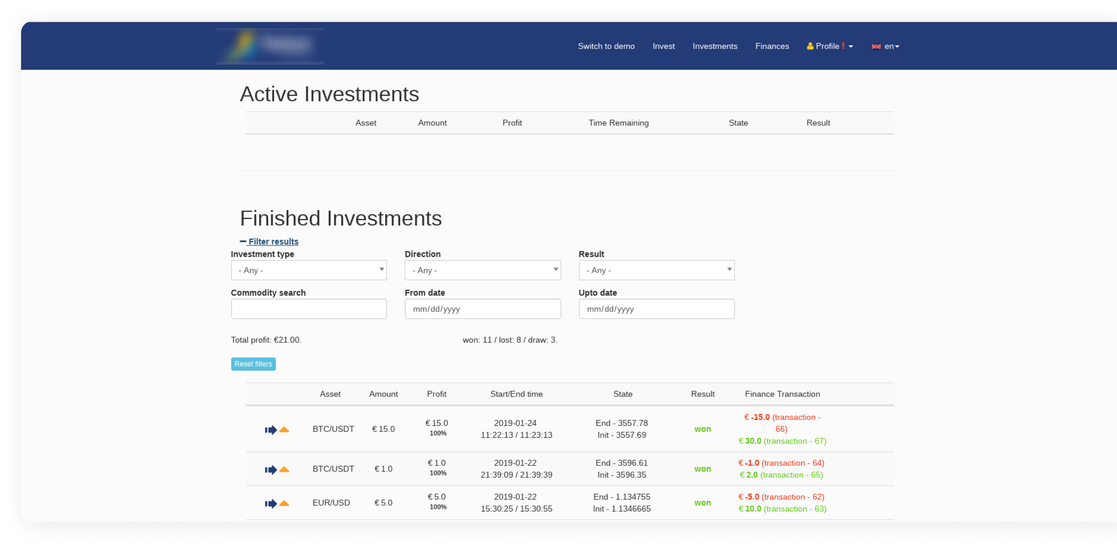 Original Design of Platform - Active Investments