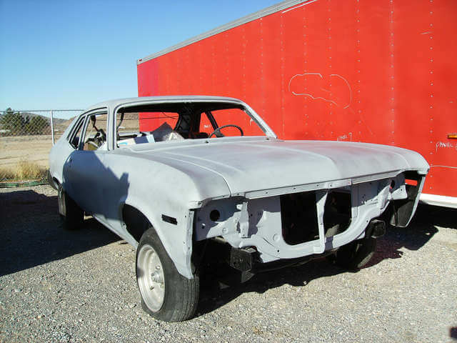 New primer coating, this 1970 Chevy Nova is straight as an arrow