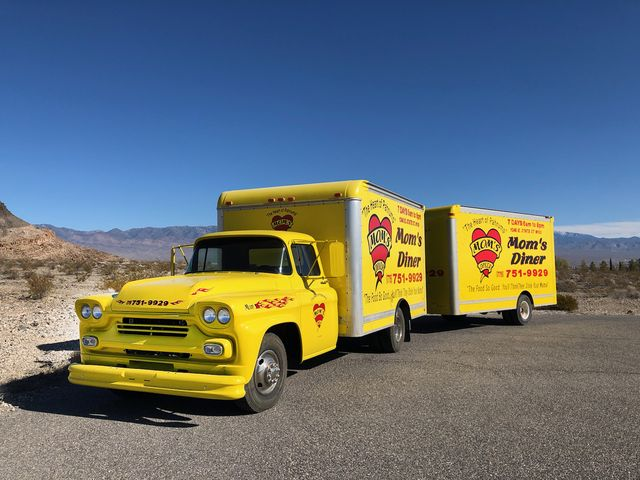 1958 Chevrolet Viking and custom trailer and hand painted advertisement - Front
