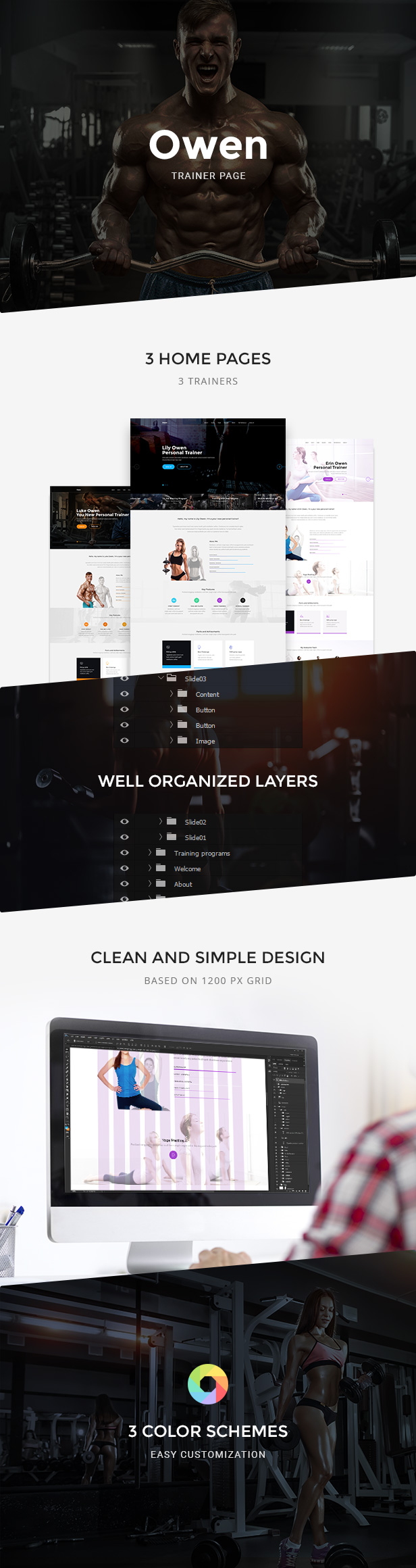 Owen — Personal Trainer Landing page PSD Template