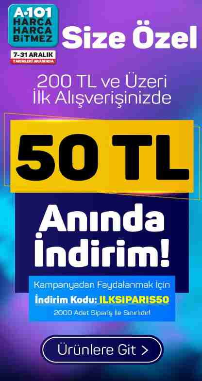A101 200/50 TL İndirim Kodu - İlk Siparişe Özel 2000 Kişi Sınırlı Hemen Kullanın