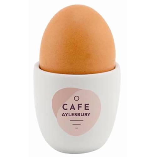 Custom branded Ceramic Egg Cups with a company logo printed on the side from Total Merchandise