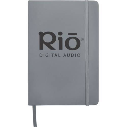Promotional A5 Budget Soft Touch Notebooks in silver available from Total Merchandise