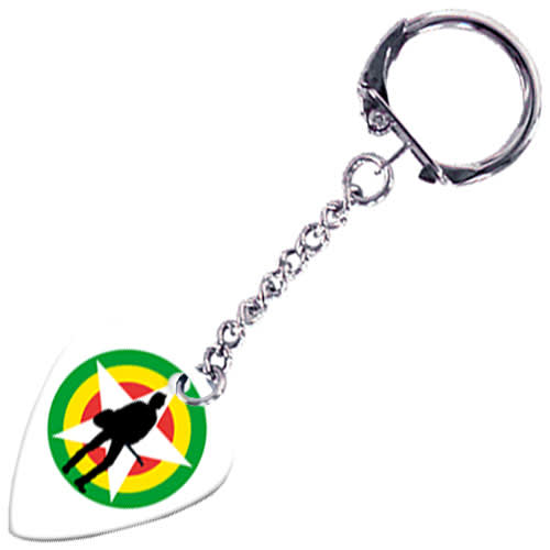 Promotional White Guitar Plectrum Keyrings Printed with Your Logo from Total Merchandise