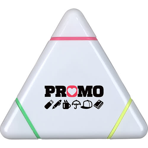 Promotional Triangle Highlighter Pens in White from Total Merchandise