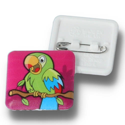 Promotional25mm Square Plastic Button Badges