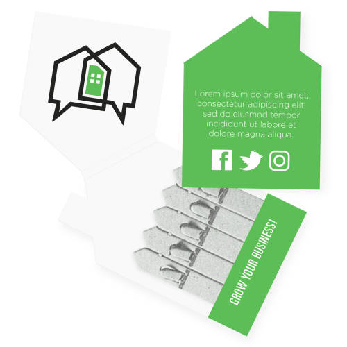 Promotional Seedsticks® in a house-shaped packet printed with a design by Total Merchandise