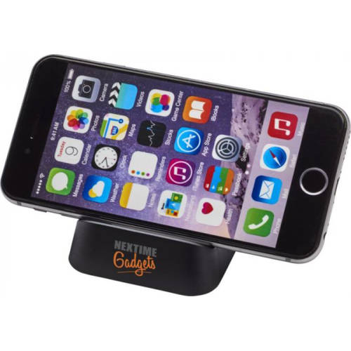Branded Horizontal Phone Stand in black from Total Merchandise