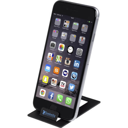 Promotional Credit Card Sized Phone Stands in Black from Total Merchandise