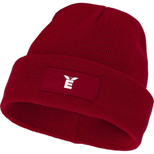 Promotional logo printed Beanie with Patch available in red from Total Merchandise