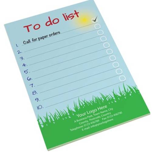Promotional 25 Sheet A5 Notepads with company artwork