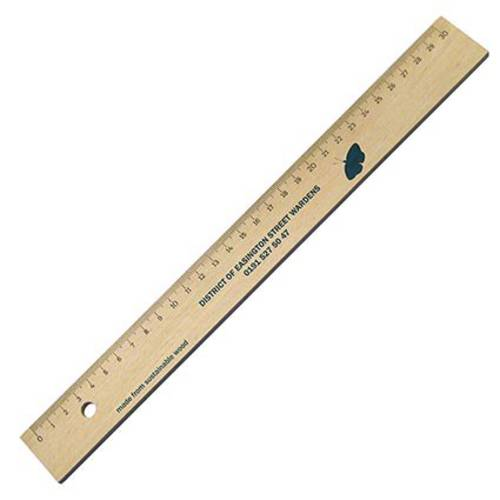 Promotional 30cm Wooden Rulers in Natural Wood Printed with a Logo by Total Merchandise