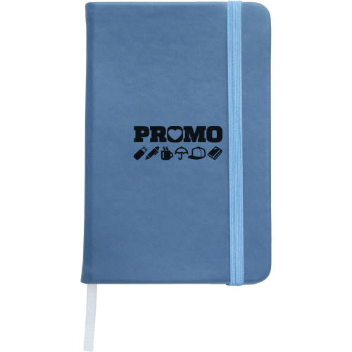 Custom printed Soft Feel Pocket Notebooks in light blue from Total Merchandise