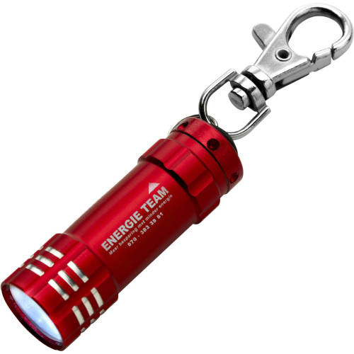 Promotional Aluminium Pocket Torches with a branded company logo to the side