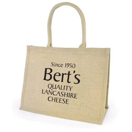 Custom branded Chow Natural Jute Bags with a company logo printed to 1 side from Total Merchandise