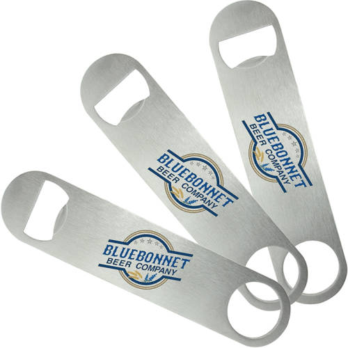Custom branded Bar Blade Bottle Openers printed with a company design from Total Merchandise