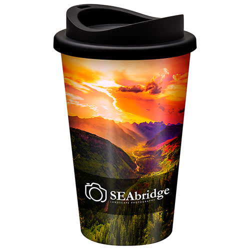 Full colour branded travel mugs with a standard lid from Total Merchandise