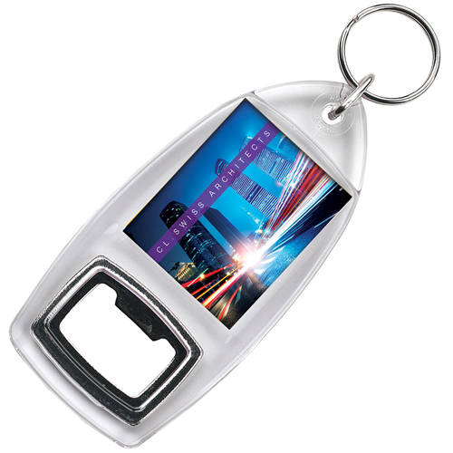Promotional Bottle Opener Keyring Printed with Your Full Colour Logo from Total Merchandise