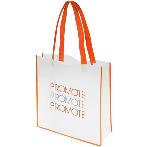 Promotional Convention Tote Bags in White/Orange with Printed Logo by Total Merchandise