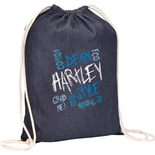 Denim Drawstring Bags in Blue
