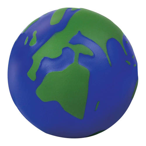 Promotional Globe Stress Toy in Dark Blue and Green Printed with Your Logo from Total Merchandise