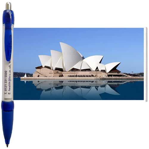Promotional blue message banner ballpens printed with a design from Total Merchandise