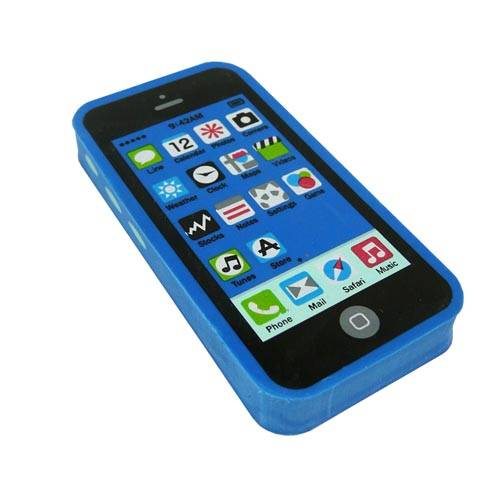 Promotional Mini Phone Erasers in Blue from Total Merchandise