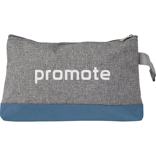 Promotional Poly Canvas Toiletry Bags in grey with blue trim from Total Merchandise