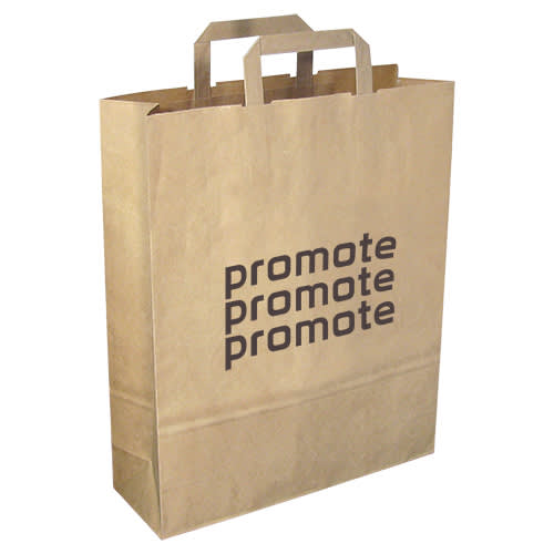 Custom Printed Recycled Large Paper Carrier Bag in Natural with a Logo from Total Merchandise