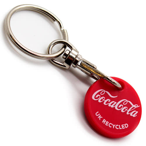 Promotional Recycled Trolley Coin Keyrings for shop merchandise