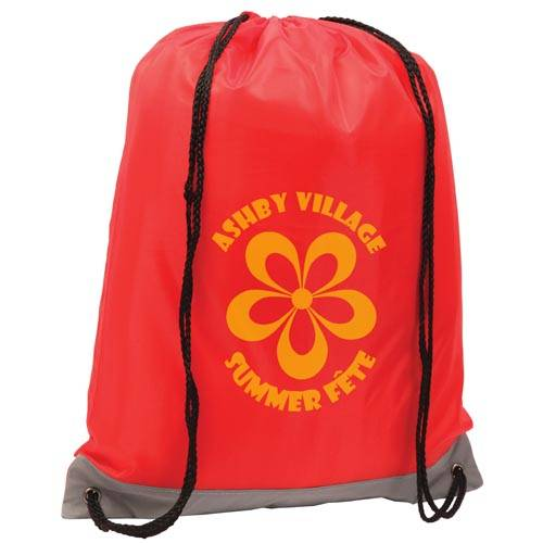 Promotional Reflective Drawstring Backpacks in Red Printed with a Logo by Total Merchandise