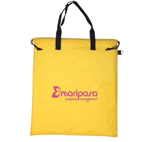 Promotional Handy Shopper Bags in Yellow with Printed Logo by Total Merchandise
