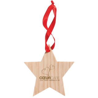 Promotional Wooden Star Christmas Hangers Novel Corporate Seasonal Giveaways