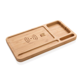 Branded bamboo wireless charging desk organisers