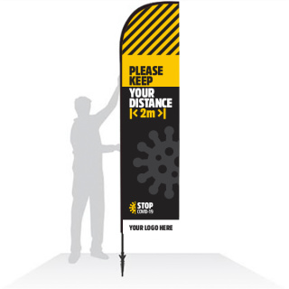 Customised Social Distancing Feather Banner Flags informing your customers to keep safe distances.