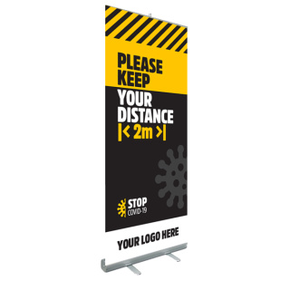 Branded Social Distancing Pop Up Banners printed with safety messages from Total Merchandise