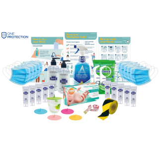 Essential Office Protection Pack Of Cleaning Products & Social Distancing Items By Total Merchandise
