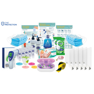 Premium Office Protection Pack Of Cleaning Products & Social Distancing Items By Total Merchandise