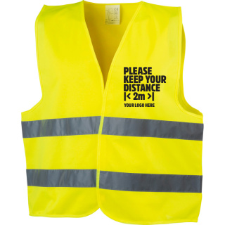 Printed Hi Vis Vests With Social Distancing Messages In Yellow From Total Merchandise