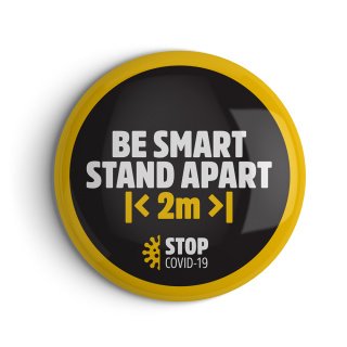 Branded Social Distancing Badges With Message In Black, White & Yellow From Total Merchandise