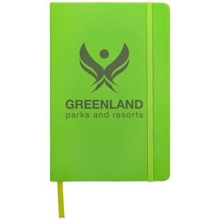 Promotional A5 Spectrum Soft Touch Notebooks with logos