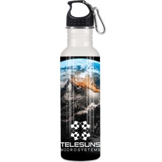 750ml Full Colour Metal Sport Bottles in White