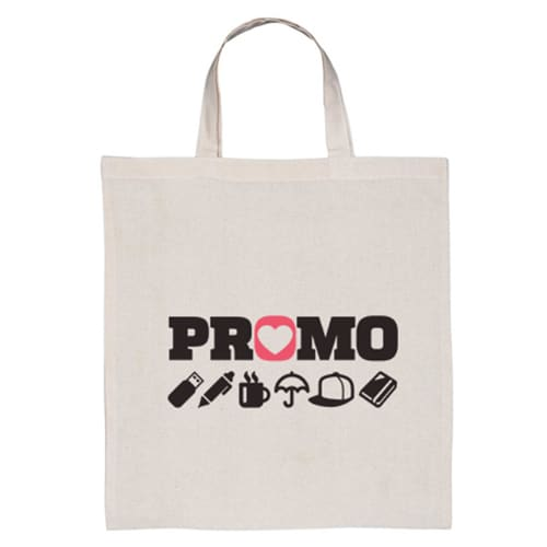 Custom Branded Short Handle Cotton Tote Bags for event promotions