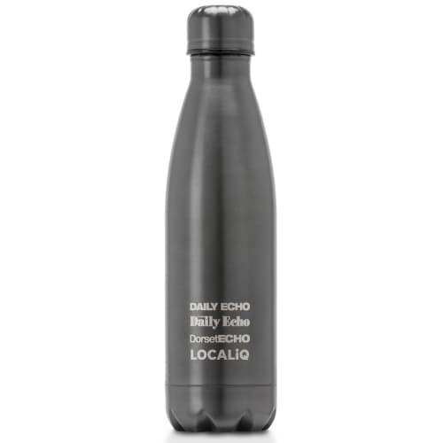 Gun Metal Grey Branded Thermal Flasks with Engraved Logo