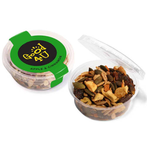 Apple & Cinnamon Promotional Good4U Eco Snack Pots with Logo