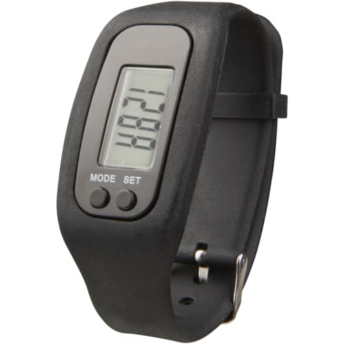 Branded Pedometer Fitness Trackers in Black